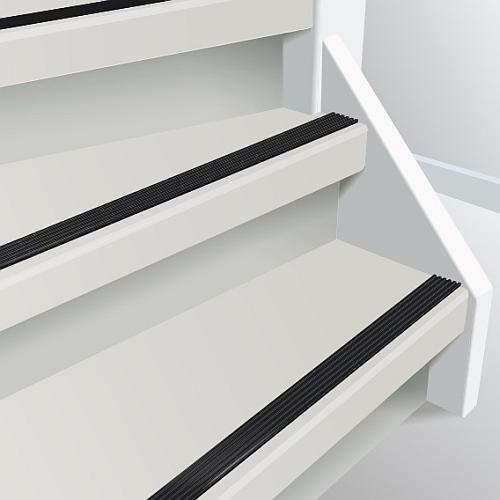 Voorbeeld resultaat doorlopende trapstrip antraciet