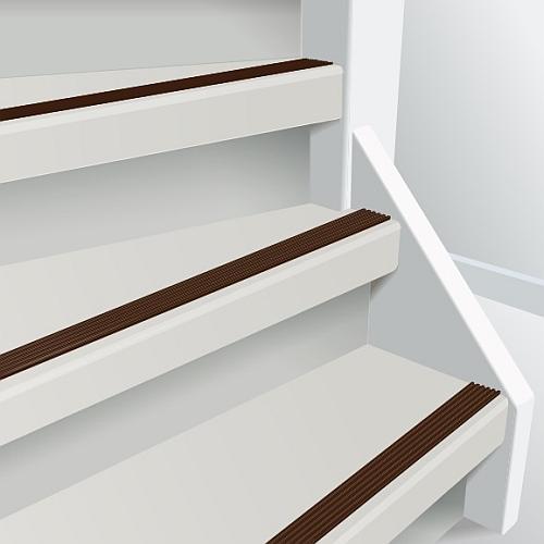 Anti slip tape bruin op witte trap