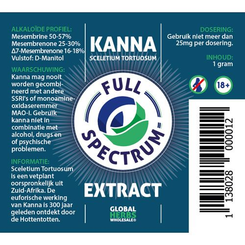 Kanna Full Spectrum extract 1g | Sceletium Tortuosum
