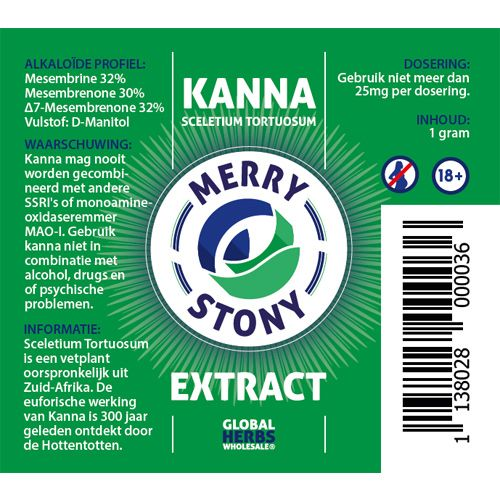 Kanna Merry stony extract 1g   Sceletium Tortuosum