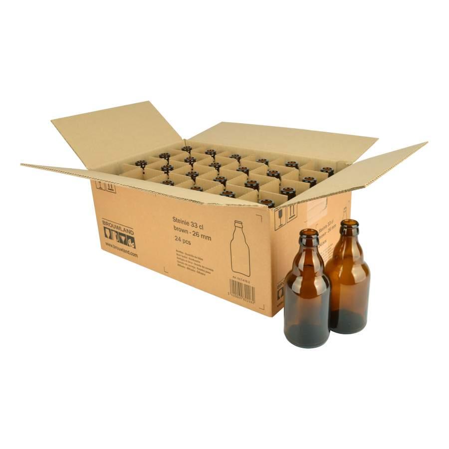 Bierfles Steinie bruin 33 cl , 26 mm - doos 24 st