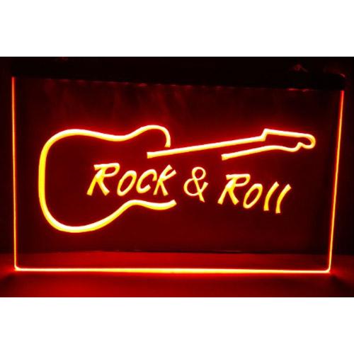 Rock & Roll Neon Bord - 200 x 300 mm