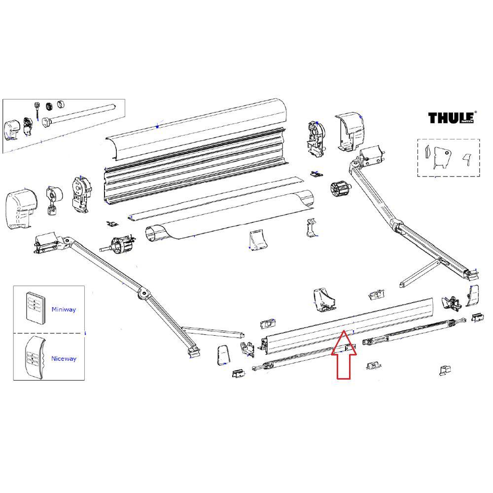 Thule 8000 Leadrail 5.00 Crème RAL9002