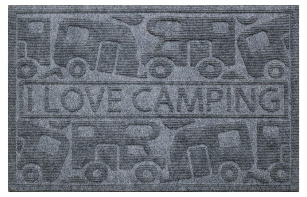 Campking Deurmat I Love Camping Grijs