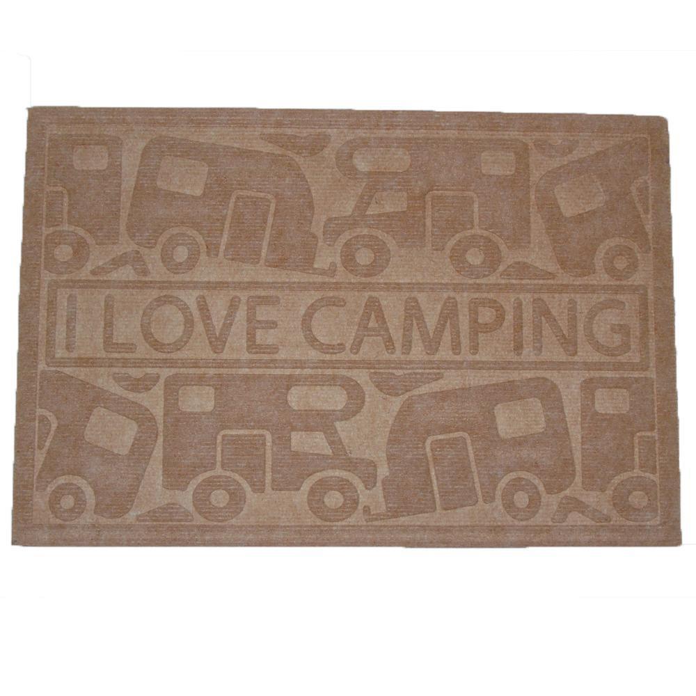 Campking Deurmat I Love Camping Bruin