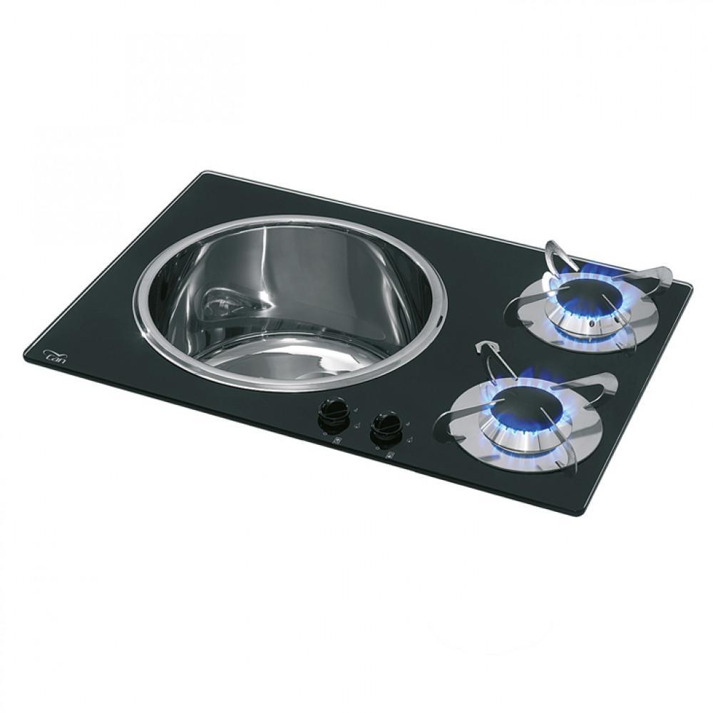 CAN Kookplaat+Spoelbak PV1360 Crystal 2 br.