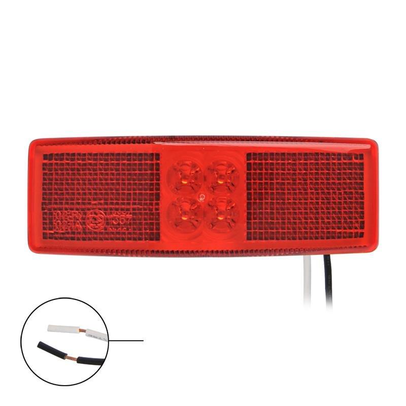 Markeringslamp 12/24V rood 110x40mm LED