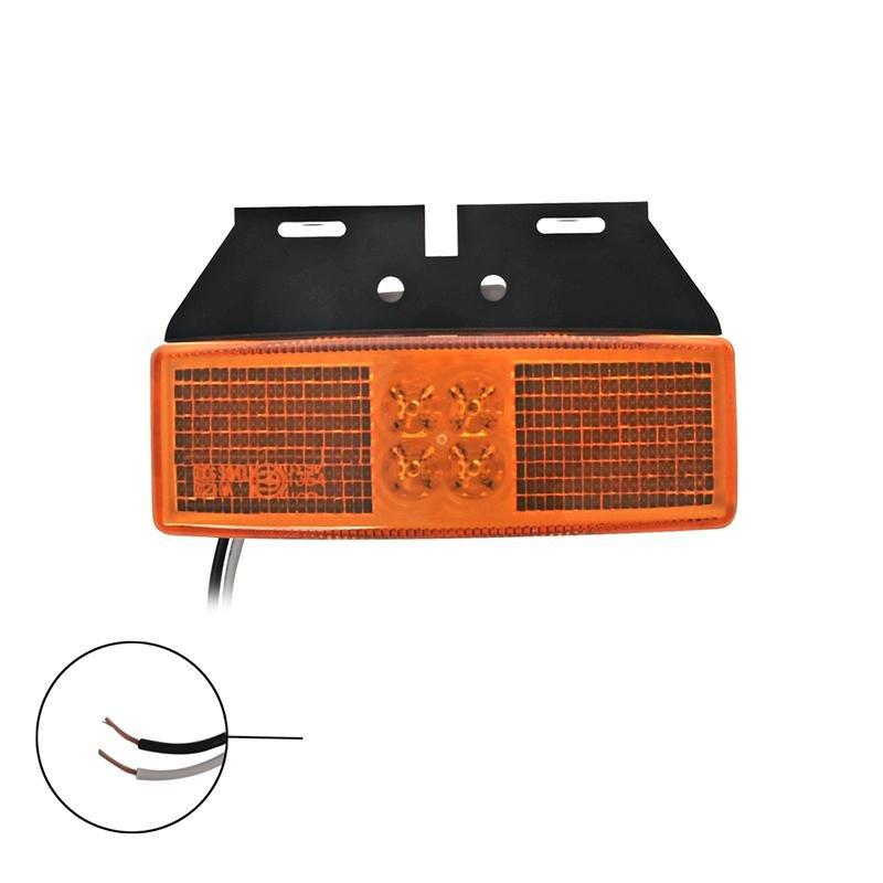 Zijmarkeringslamp 12/24V oranje 110x40mm LED met houder