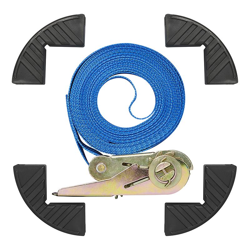 Spanband 5 meter 500kg  met randbeschermers blauw