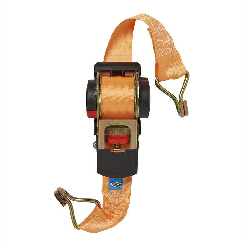 Spanband met ratel + 2 haken 450cm 750kg automatisch oprollend