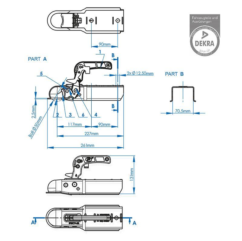 Kogelkoppeling vierkant 70mm