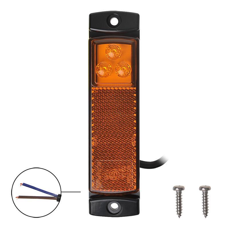 Zijmarkeringslamp 12/24V oranje 126x30mm LED