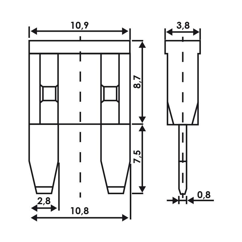 Steekzekering mini 5A-30A 10 stuks