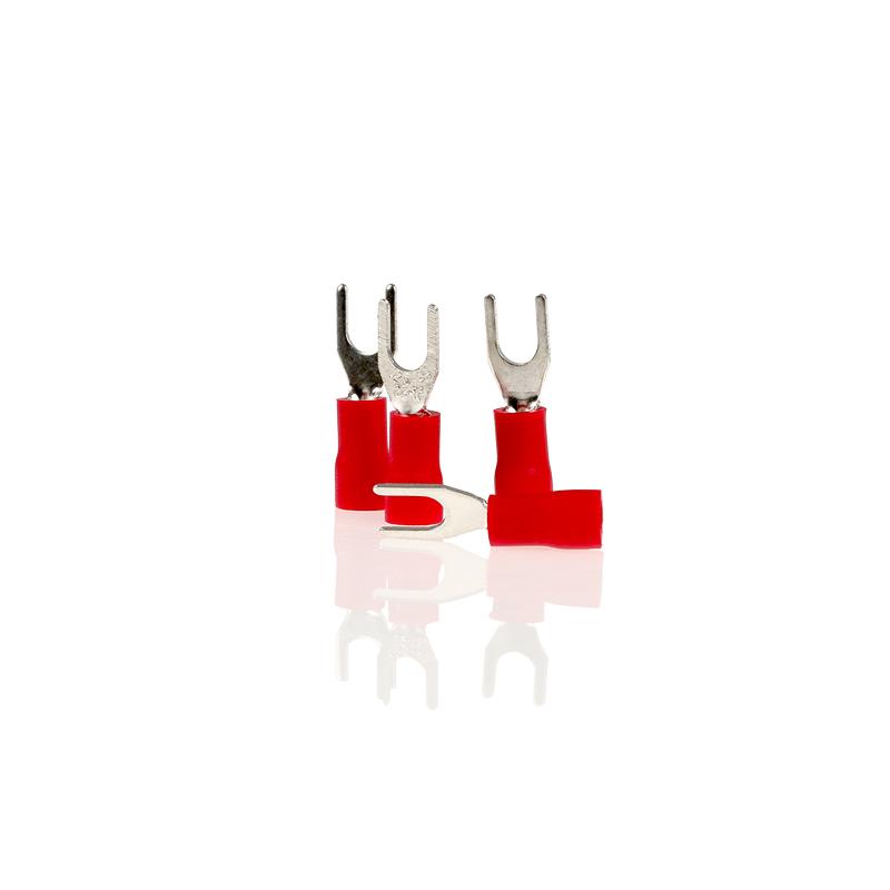 Kabelschoentjes rood vork 4,3mm 10 stuks