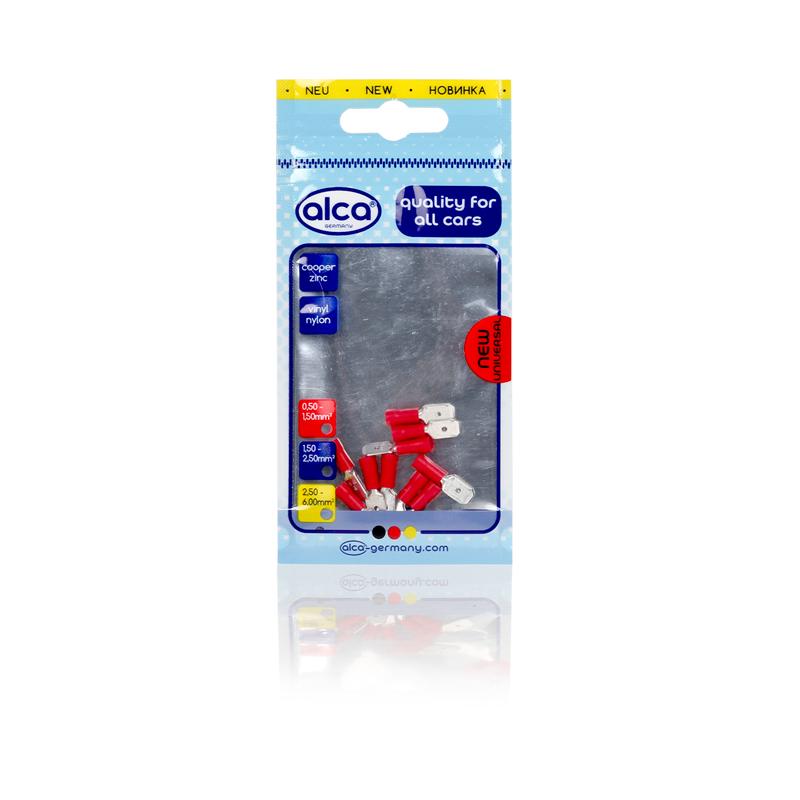 Kabelschoentjes rood vlaksteker 6,35mm 10 stuks