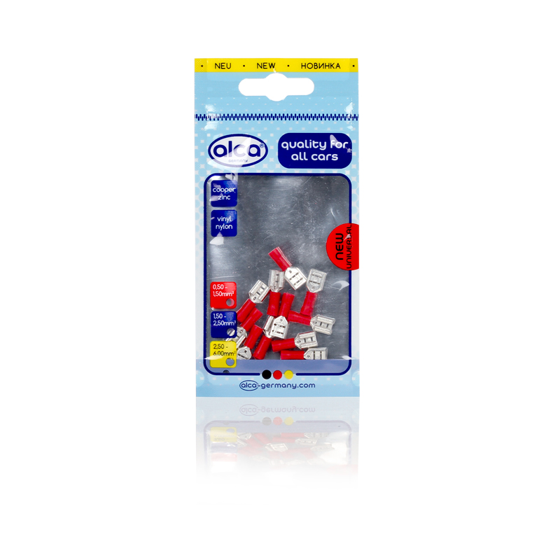 Kabelschoentjes rood vlaksteker huls 6,3mm 10 stuks