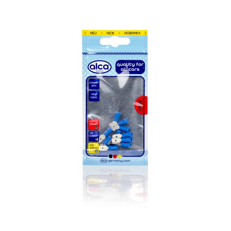 Kabelschoentjes blauw vlaksteker 6,35mm 10 stuks