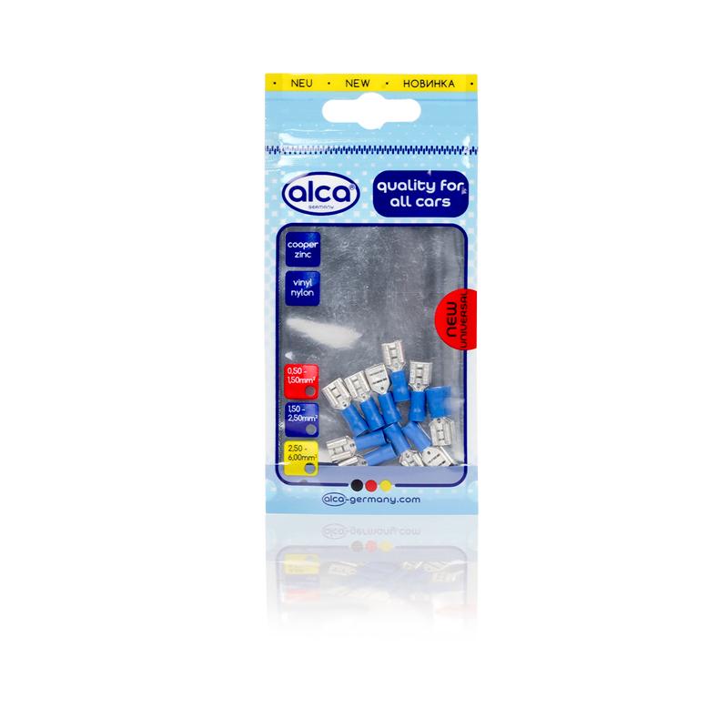 Kabelschoentjes blauw vlaksteker huls 6,35mm 10 stuks