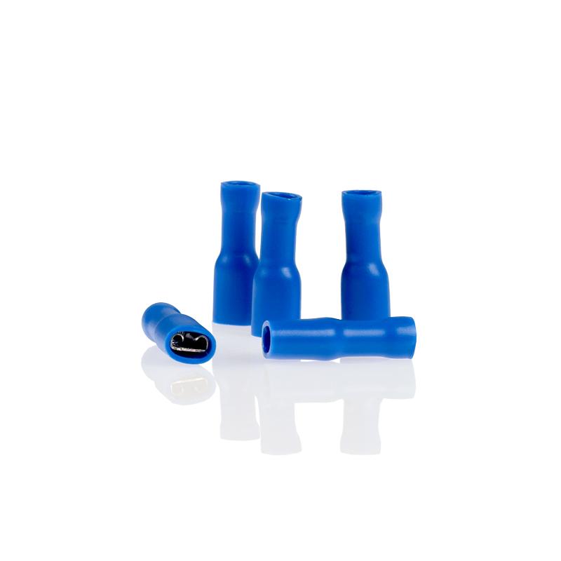 Kabelschoentjes blauw vlaksteker 5,6mm volledig geisoleerd 10 stuks