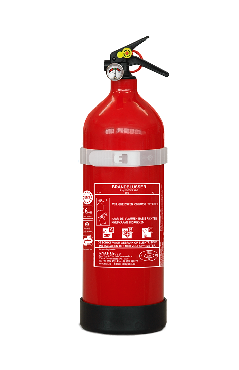 Brandblusser poeder ABC 2 kg met manometer en beugel