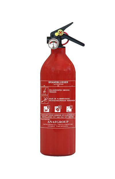 Brandblusser poeder ABC 1 kg met manometer en beugel