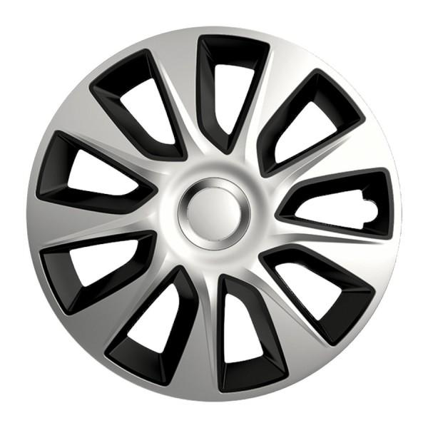 Wieldoppen Stratos DC zilver/zwart 15 inch 4-delig set