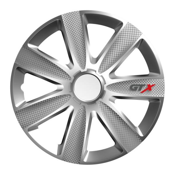 Wieldoppen GTX Carbon zilver 16 inch 4-delig set