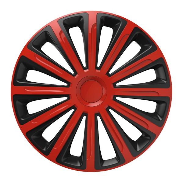 Wieldoppen Trend rood/zwart 15 inch 4-delig set