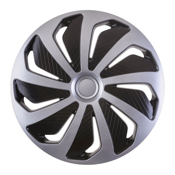 Wieldoppen Wind zilver/zwart 16 inch Set van 4 stuks