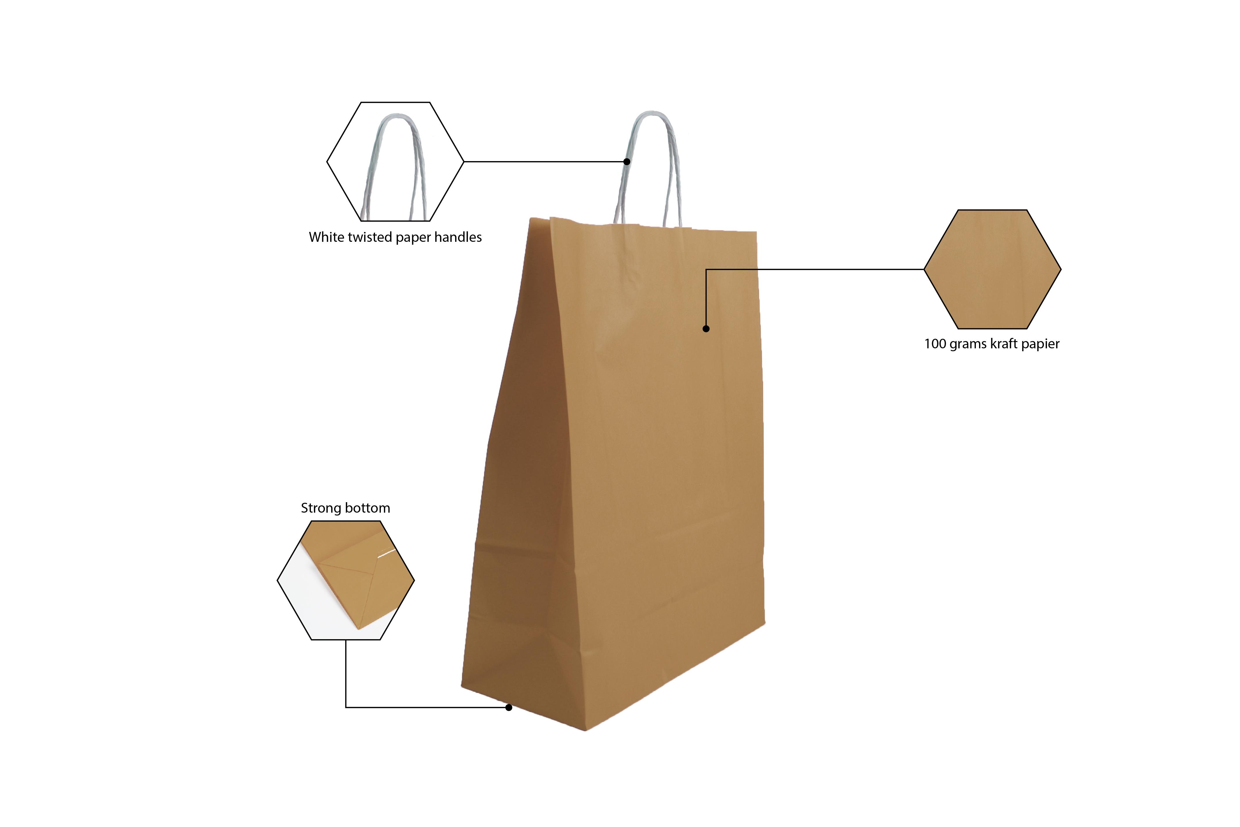 Papieren draagtas bruin met gedraaid handvat 180 mm x 250 mm
