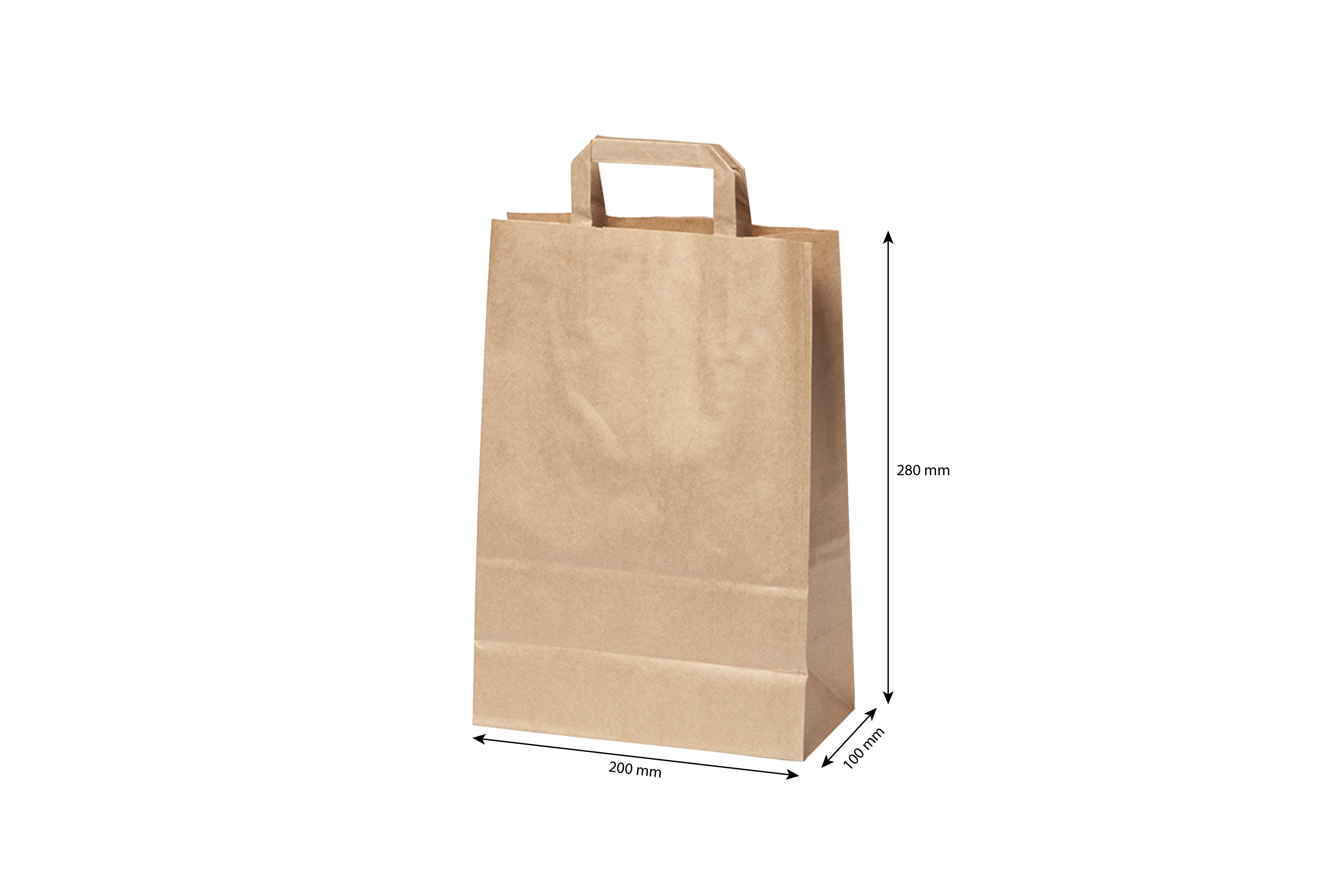Bruine Papieren draagtassen  200 x  280 mm