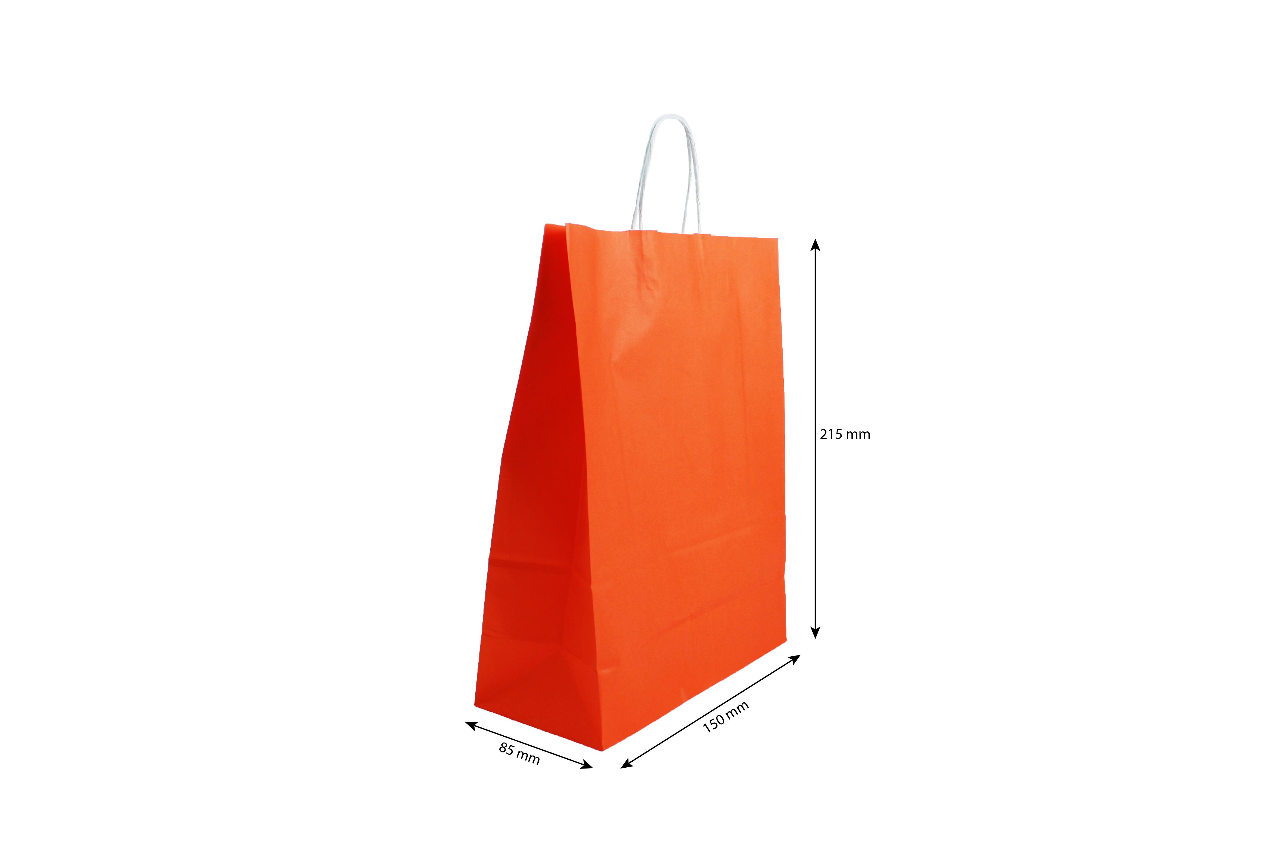 Papieren draagtasje 150 x 215 mm oranje