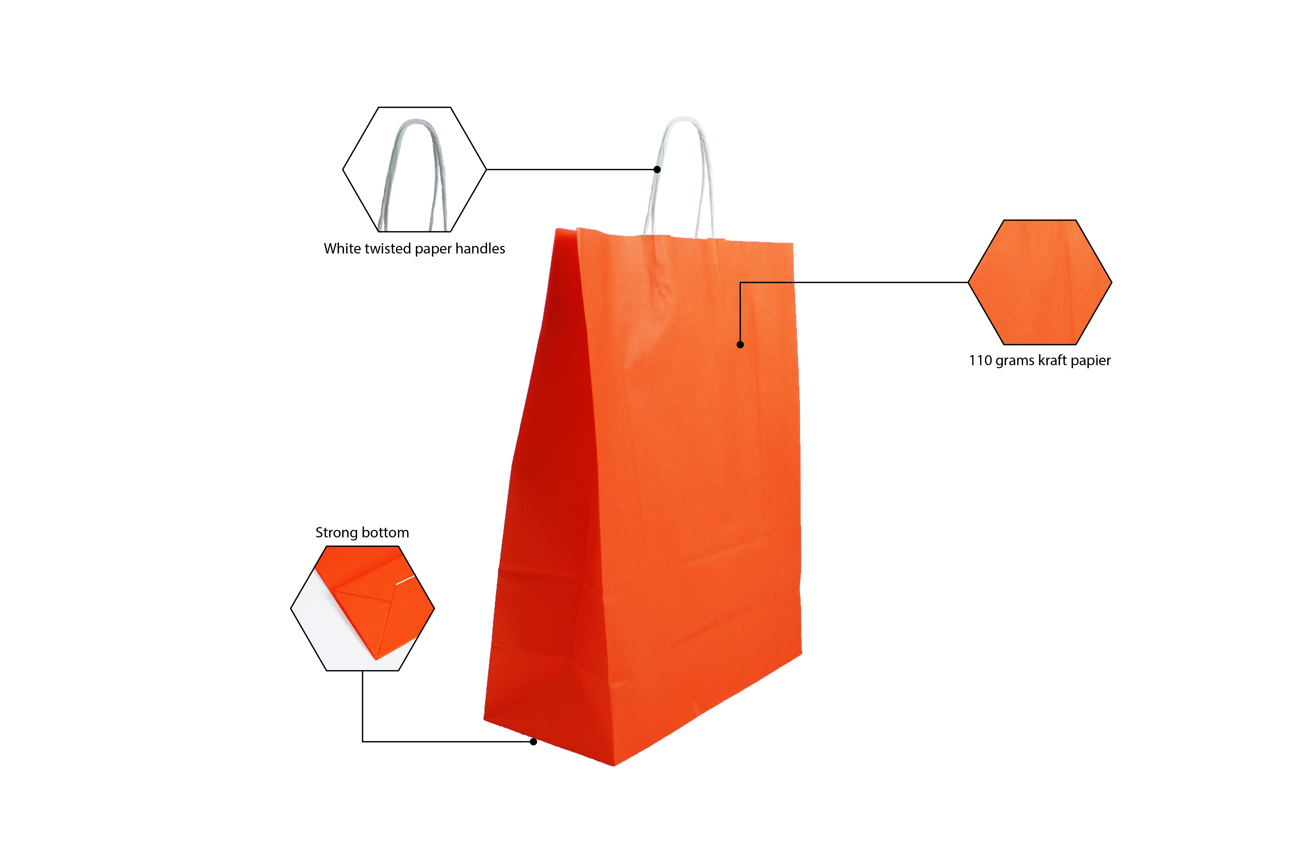 Papieren draagtasje 220 x 300 mm oranje