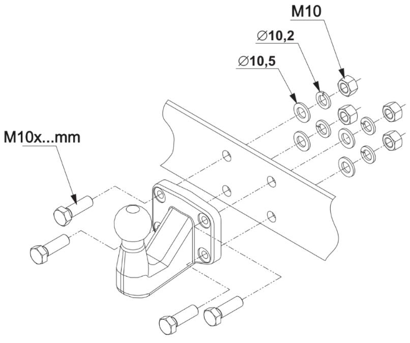 Trekhaak kogel Flenskogel 4 gats trekhaak kogel tevens geschikt voor AlKO-koppeling