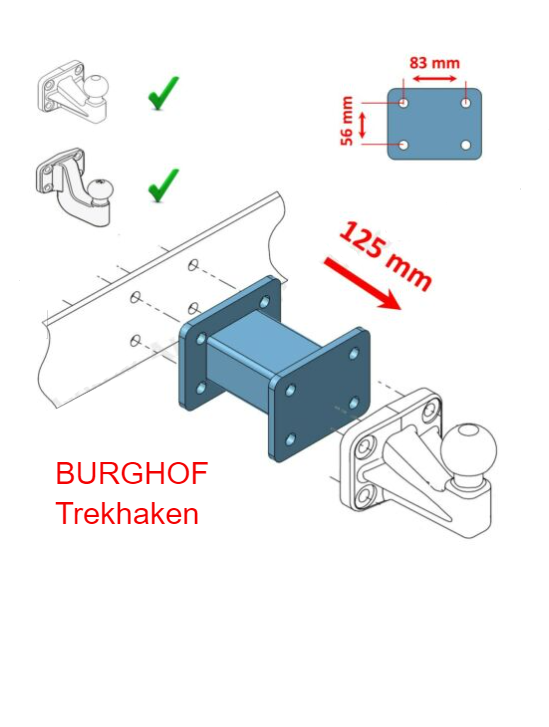 Trekhaak verlengstuk 4 gaats adapter flenskogel