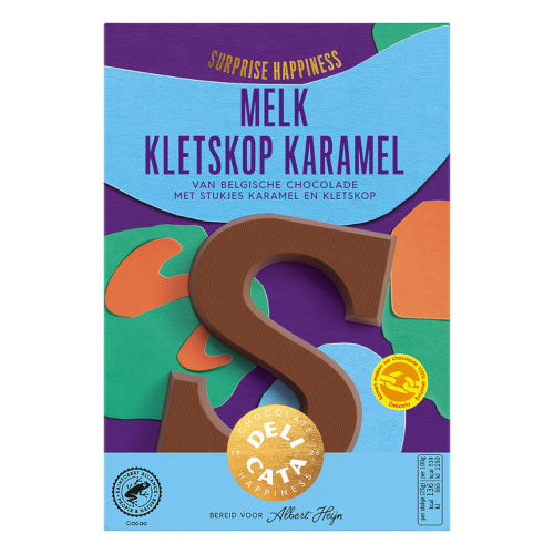 Delicata melk chocoladeletter karamel kletskop