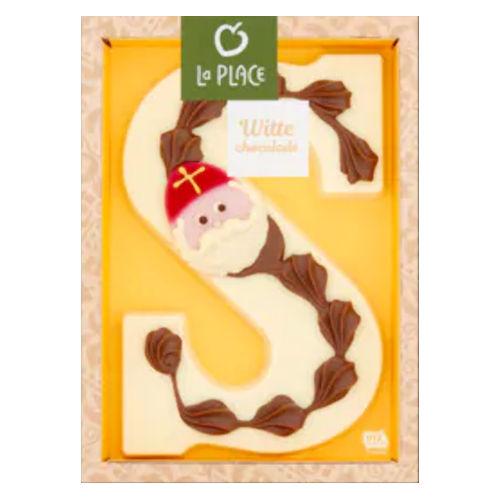 Versierde witte chocoladeletter Sinterklaas
