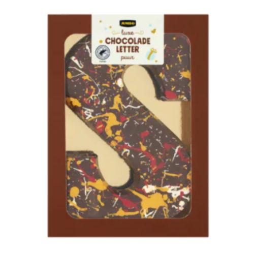 Luxe pure chocoladeletter Sinterklaas met gekleurde versiering