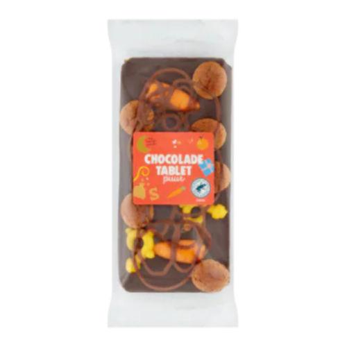 Sinterklaas tablet met versiering pure chocolade
