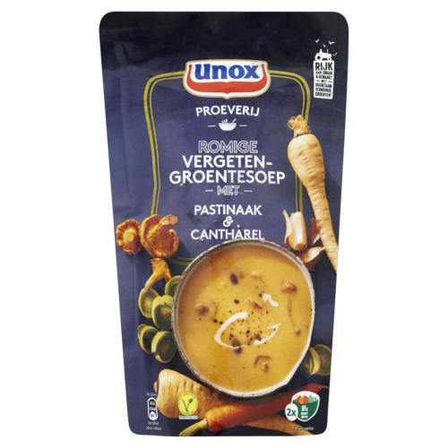 Unox soep met cantharellen en pastinaak