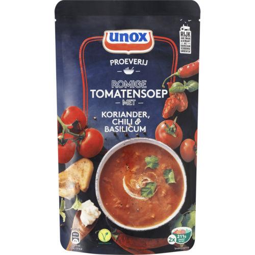 Unox romige tomatensoep met kruiden en chili