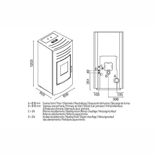 Hydro 24 kW kachel tekening