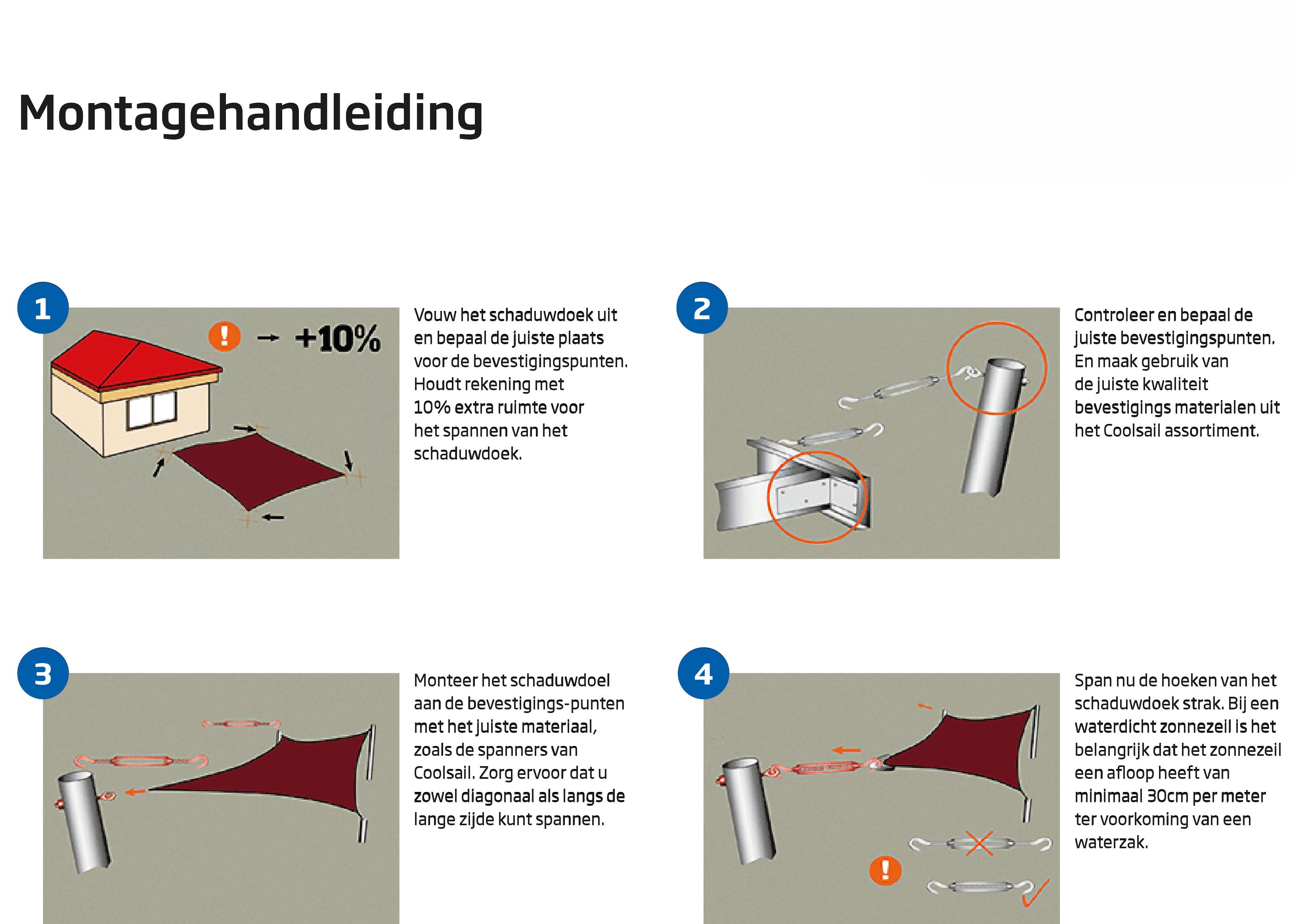Schaduwdoek montagehandleiding