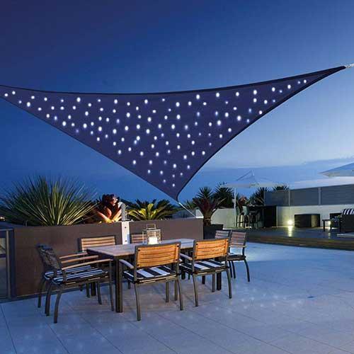 Schaduwdoek met LED 3,6x3,6x3,6m 180gr blauw