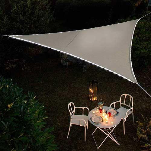 Schaduwdoek waterdicht met LED strip 3,6x3,6x3,6m antraciet