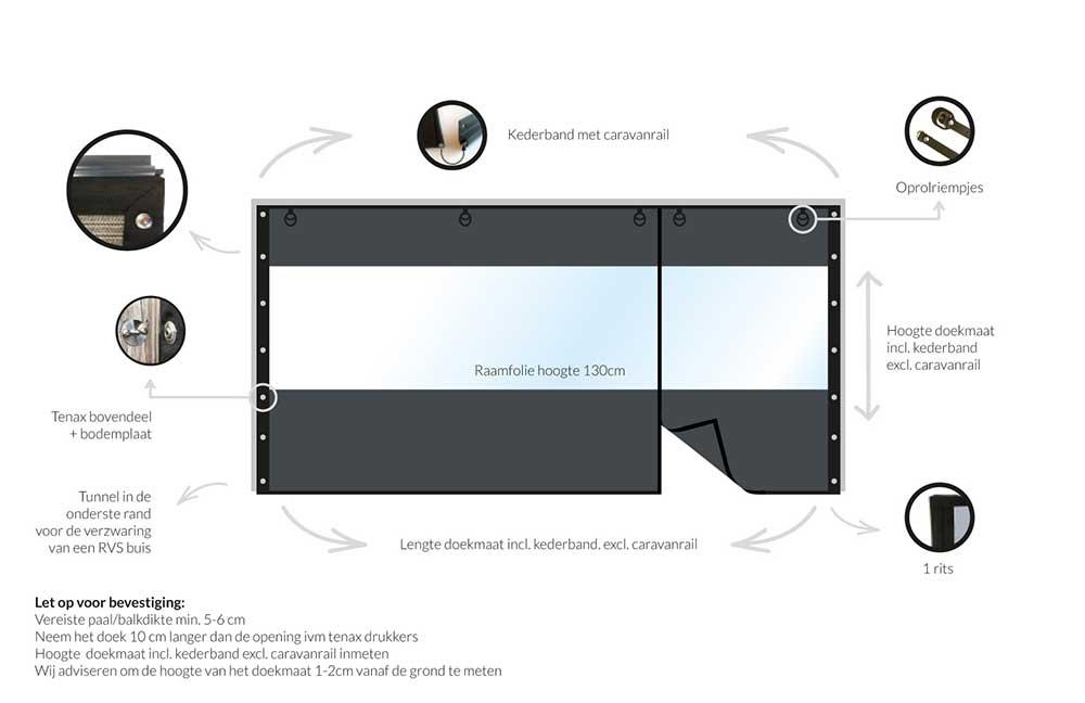 verandazeil coolsail tot 2 m met deuropening en tenax