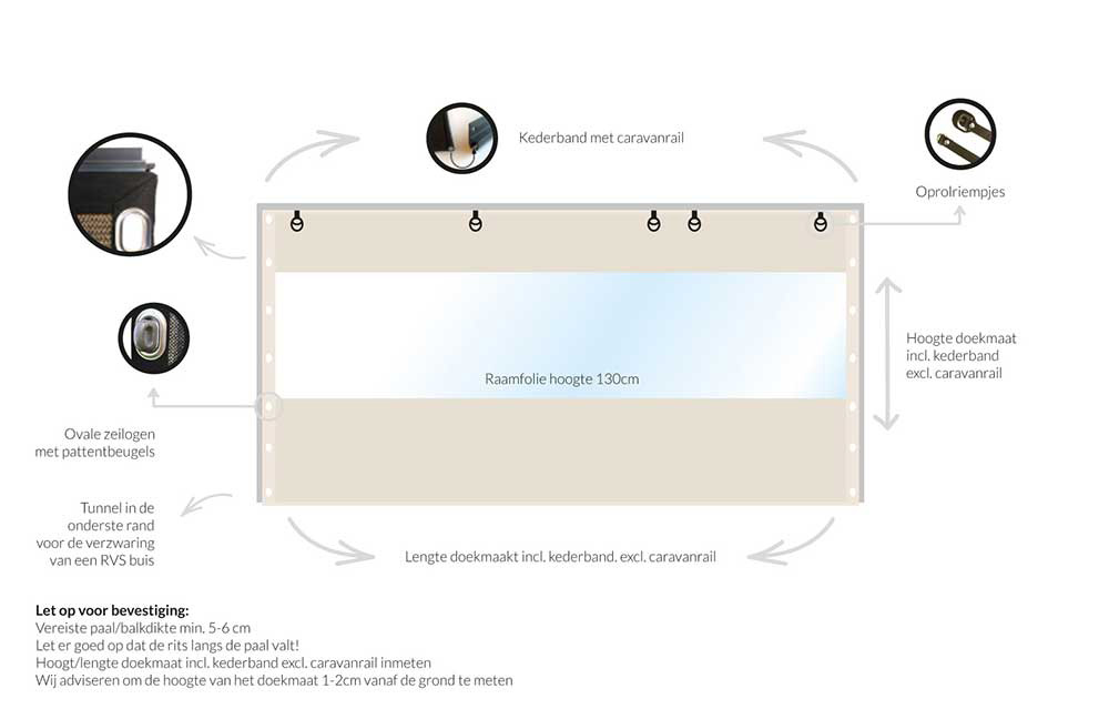 verandazeil coolsail tot 2 m met tourniquets