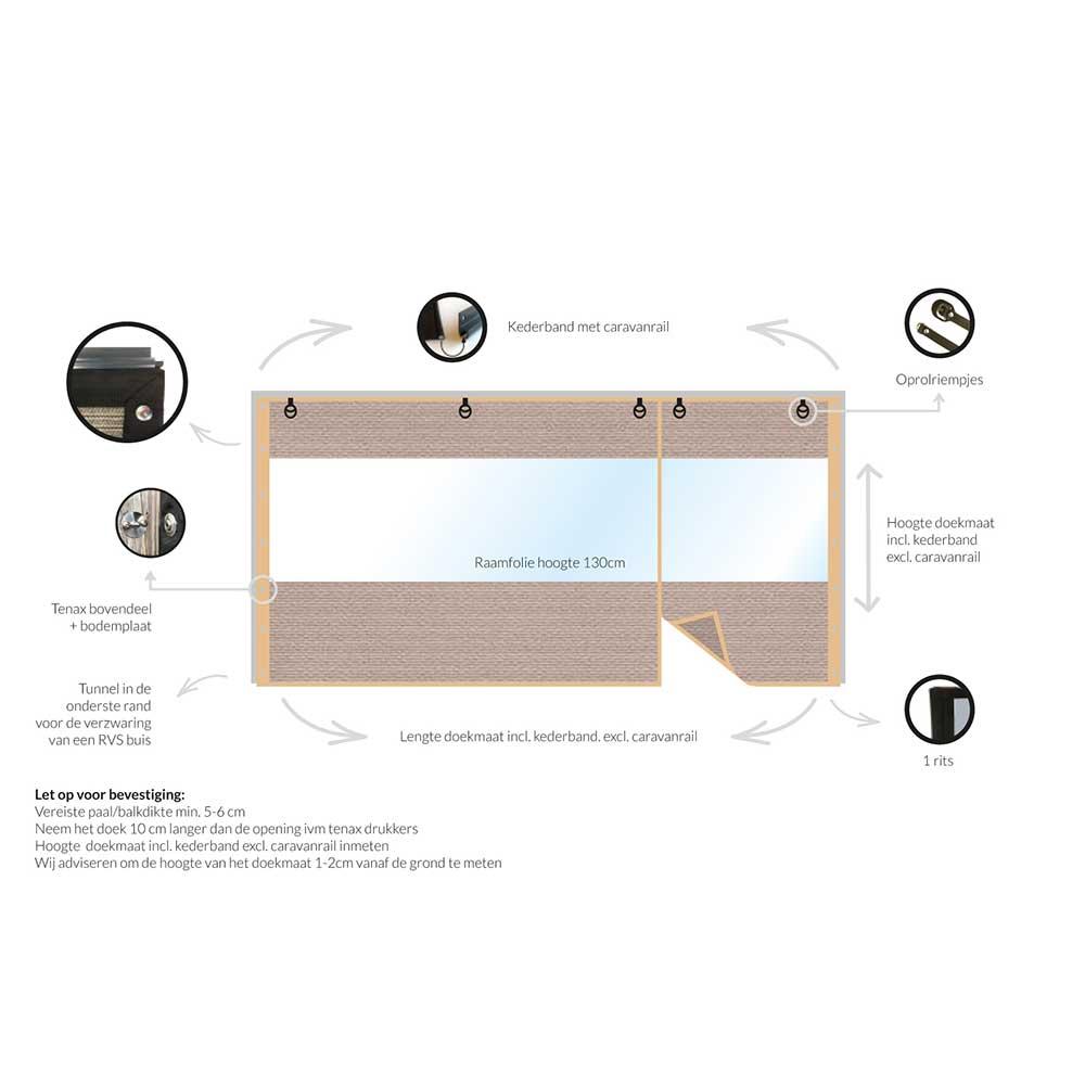 verandadoek tot 3 m taupe met tussen venster en deur