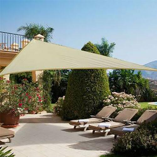 zonnedoek driehoek 190gr/m²  3x4x4m crème