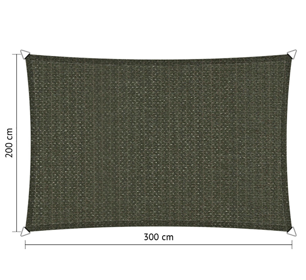 Zonnedoek 2x3m 285gr/m²  deep grey
